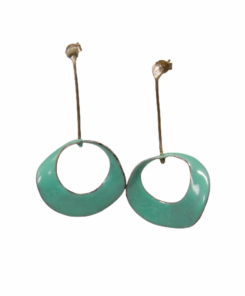 Turquoise enamel mobius earrings with sterling silver.