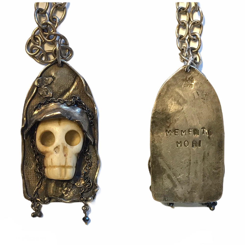 """Sterling/ bone/ black diamond pendant on sterling chain,message """"Memento mori"""" on back. (Remember you're mortal). For men or women. designed and all hand fabricated by, J A Lindberg...one of a kind"""