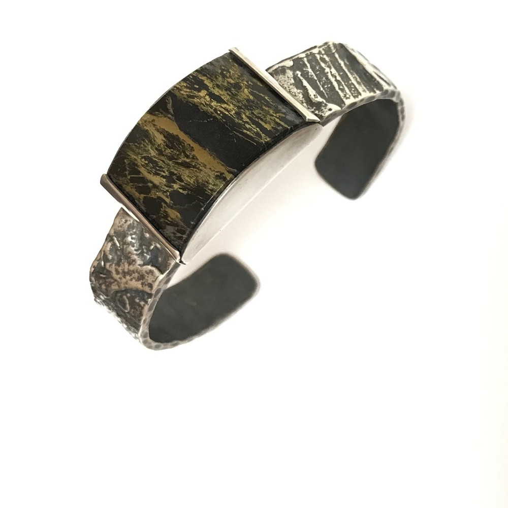 Sterling Silver Cuff with 'Apache Gold' Stone