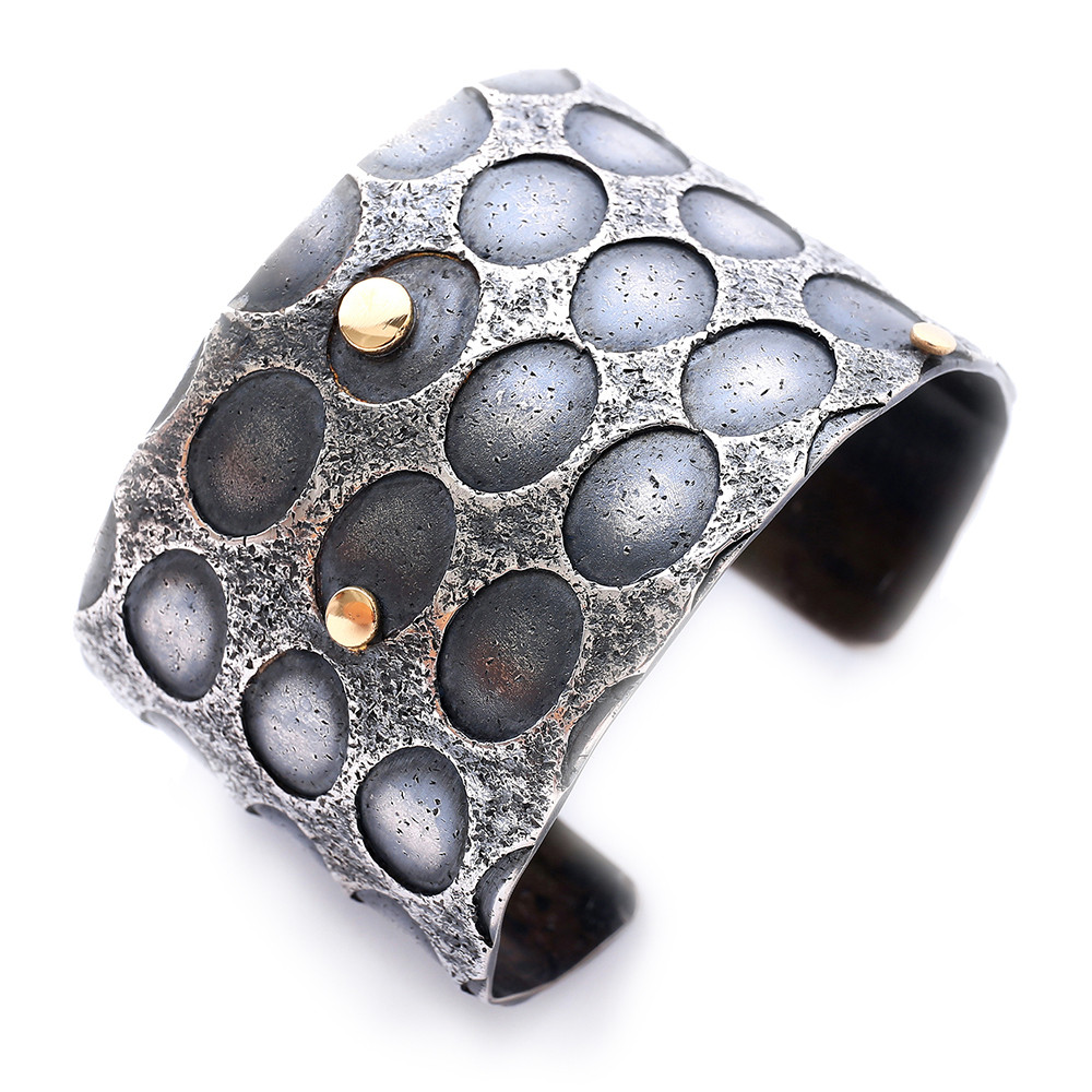 Fused Sterling Silver and 14K Cuff