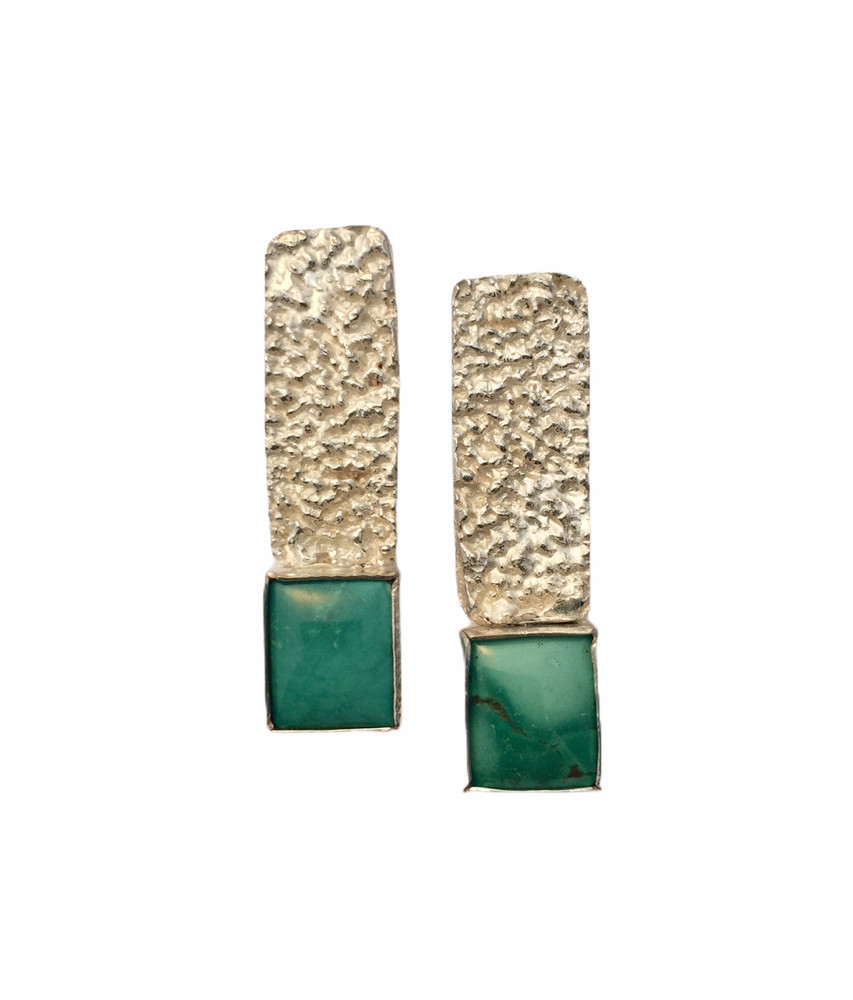 SS seaweed textured earrings with turquoise