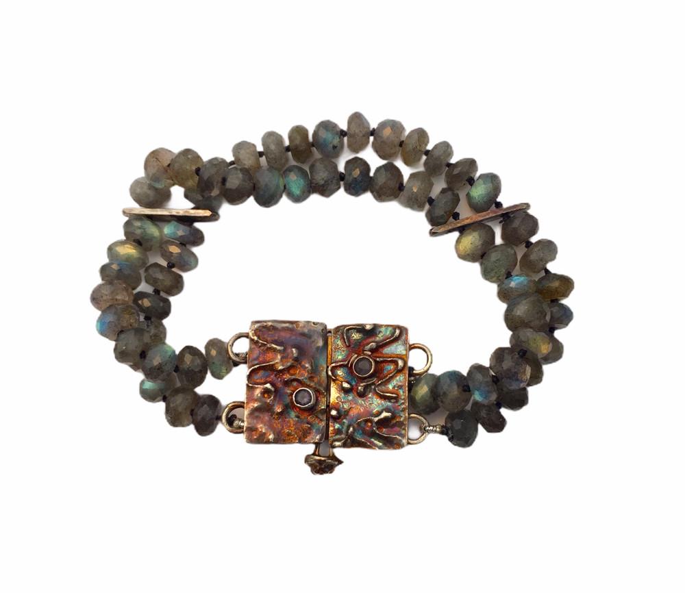 Sterling silver, fine silver, labradorite and iolite bracelet w/ handmade clasp