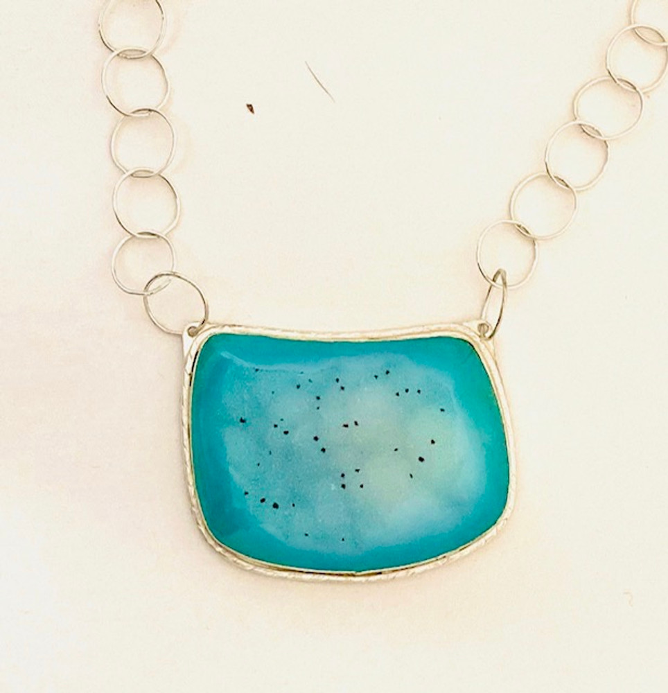 Sterling silver Druzy chrysocolla necklace