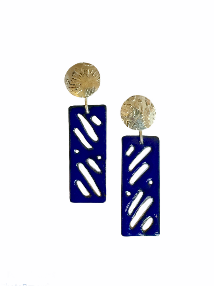 Pierced blue enamel and sterling silver earrings