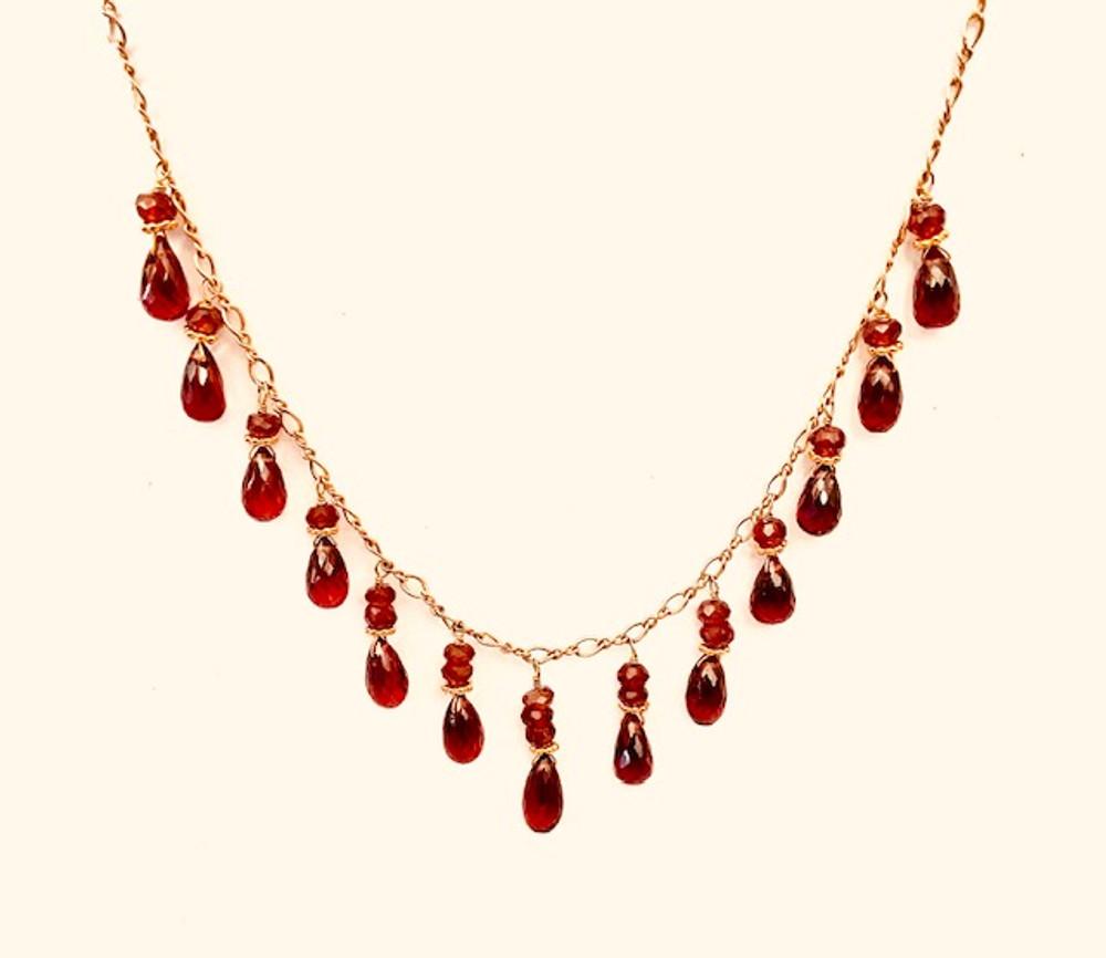 14k & 18k gold & Garnets necklace