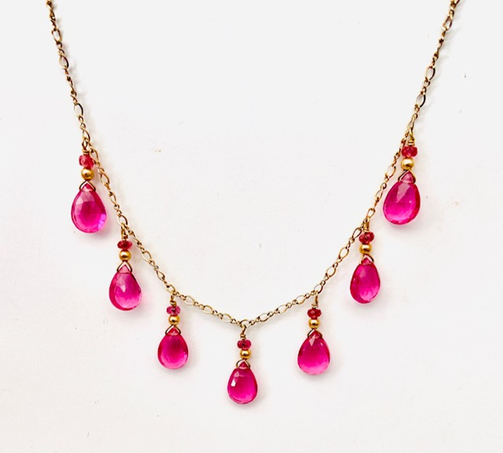 14k gold necklace with rubellite quartz and pink tourmaline drops