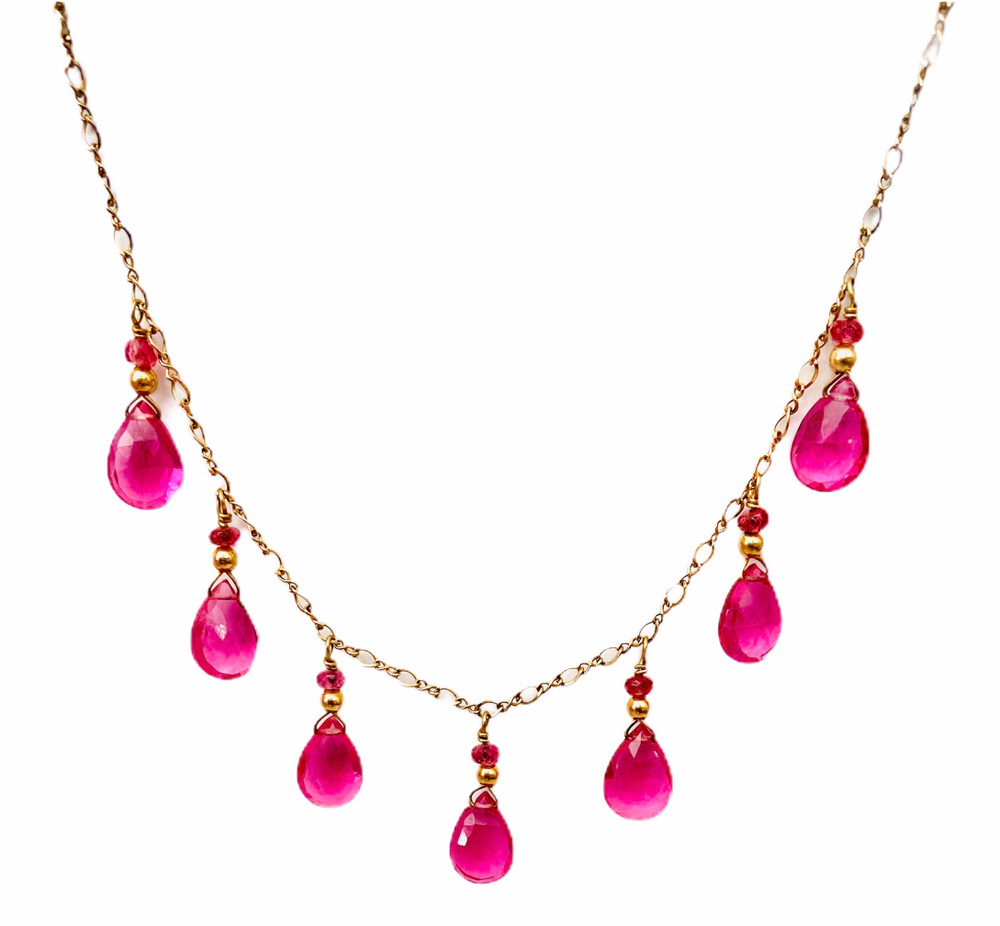 14k gold necklace with rubellite quartz & pink tourmaline drops