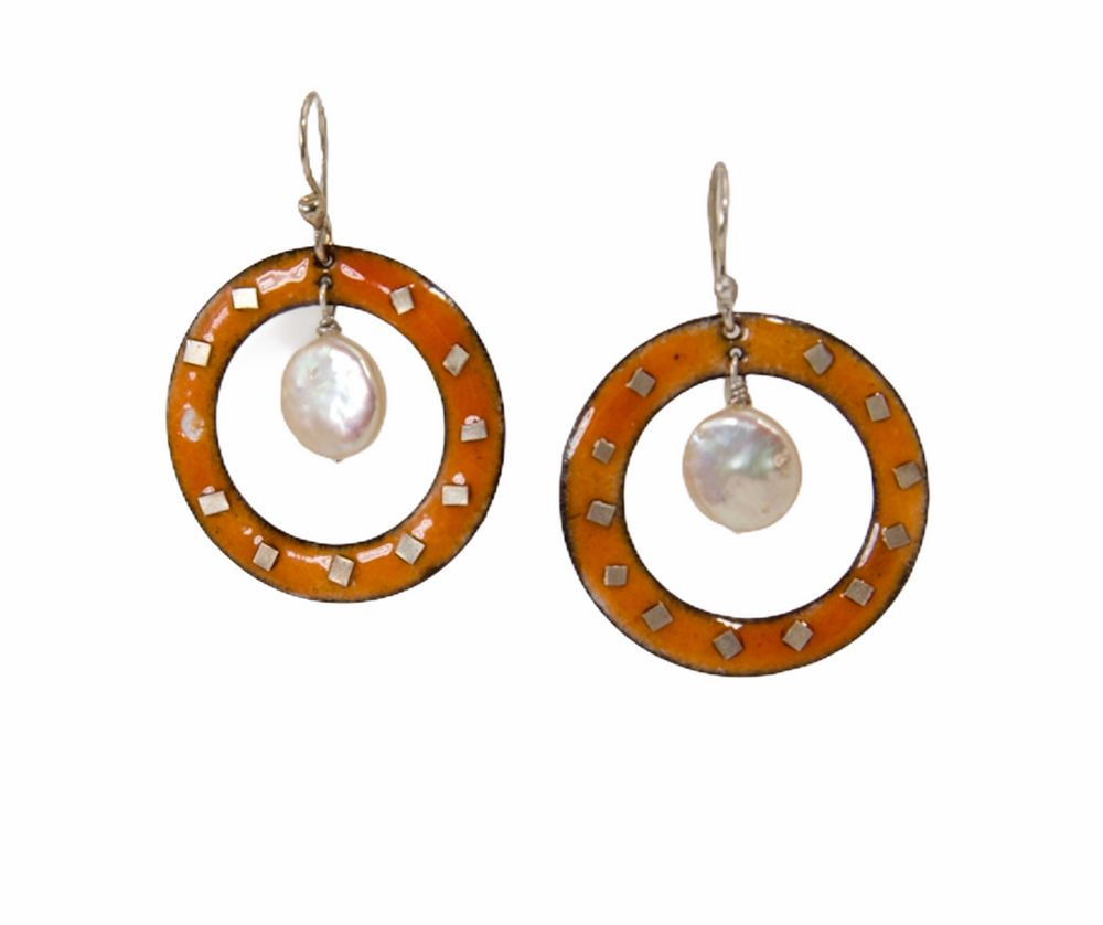 Orange enamel hoops adorned with fine silver and coin pearls
