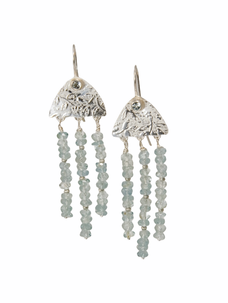 Textured sterling silver and aquamarine chandelier earrings
