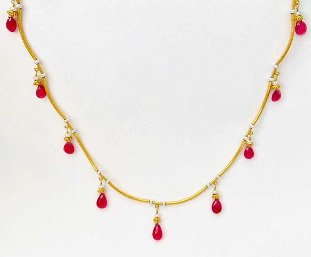 22k & 18k gold necklace with ruby drops & seed pearls
