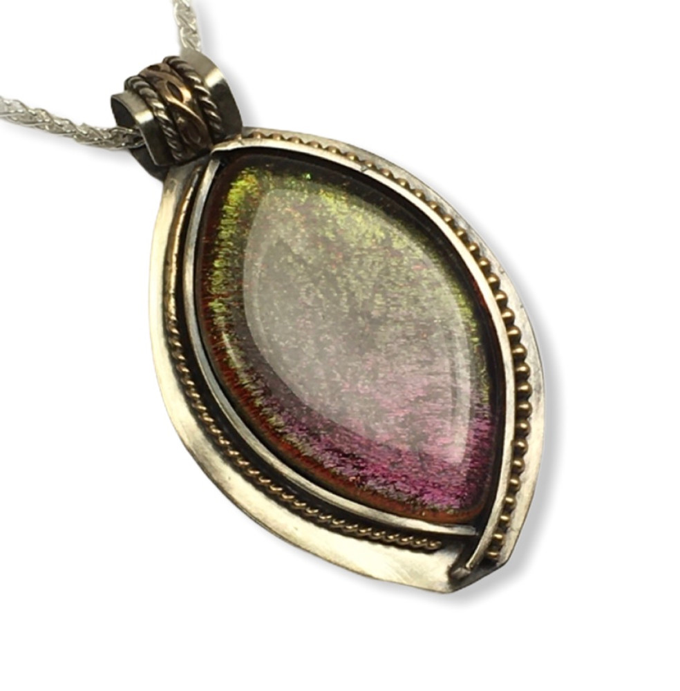 """Fused Glass Pendant - sterling silver and gold filled accents  -24"""" sterling silver wheat chain  1.5"""" x 2.5"""""""