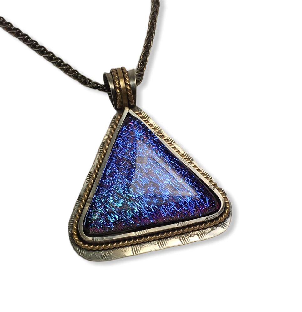 """Fused Glass Pendant - sterling silver and gold filled accents  -18"""" sterling silver wheat chain oxidized  1.25"""" x 1.25"""""""
