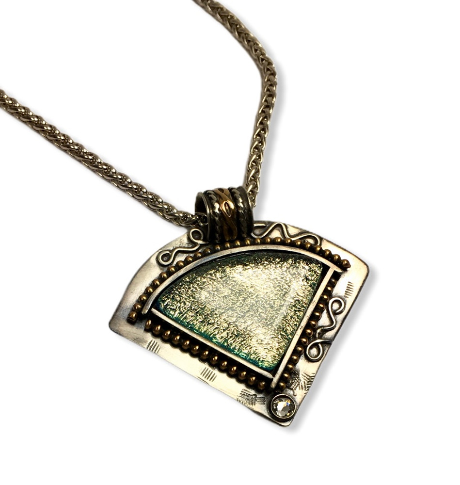 """Fused Glass Pendant - sterling silver and gold fill with glass clear Swarovski crystal  16"""" sterling silver wheat chain  2""""x 1.75"""""""