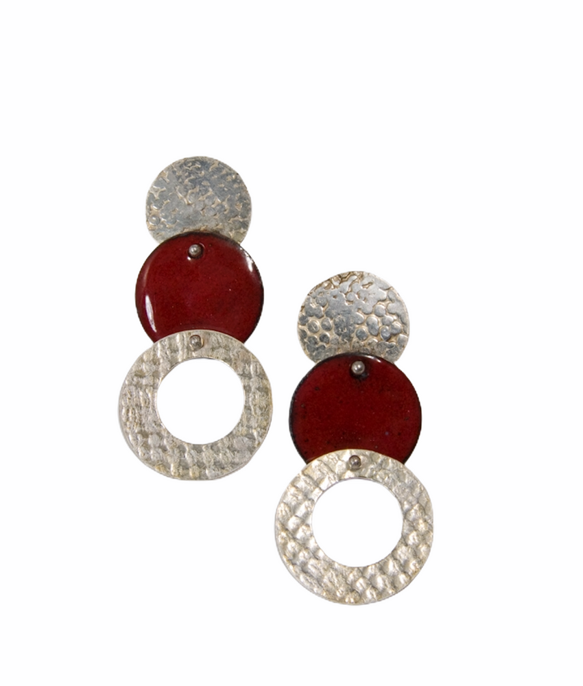 Sterling silver textured earrings with red enamel disc