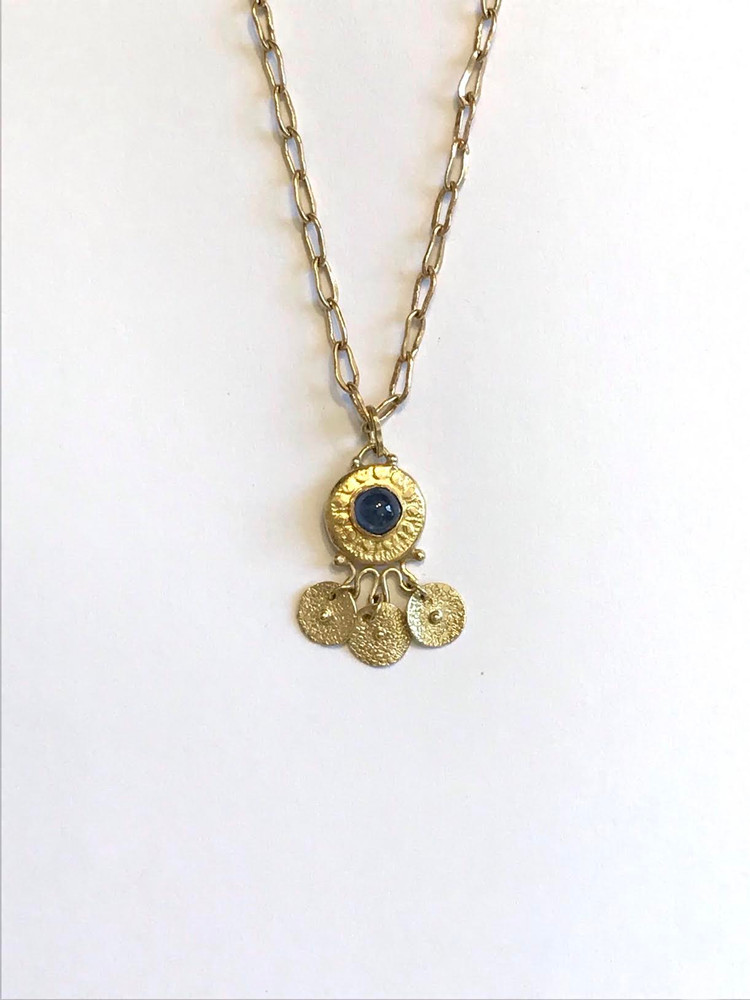 """ancient style gold necklace...18k pendant7/8"""" x 1/2"""" w/ blue sapphire & 14k 16"""" chain....     designed and handmade by             J A Lindberg....one of a kind"""