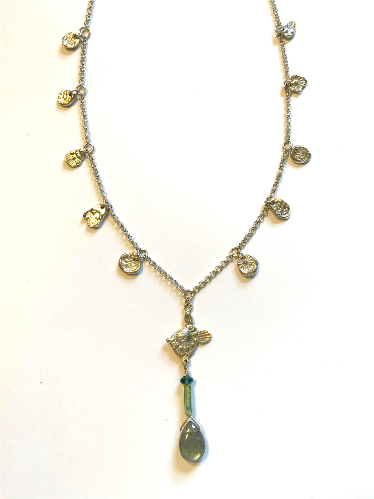 """Sterling silver 16"""" chain w/ tiny fine silver """"coins"""" and attached  1- 3/4"""" pendant. Labradorite and tourmalines. one of a kind...designed & handmade by, J A Lindberg perfect for Summer.."""
