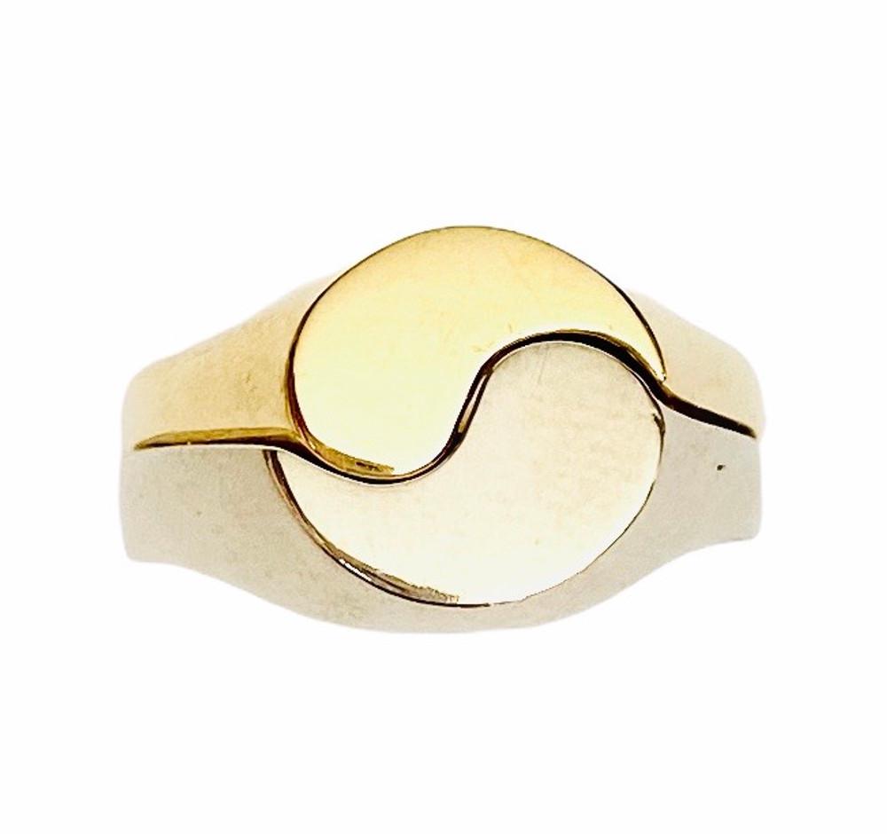 18k yellow gold & 14k white gold yin yang ring set