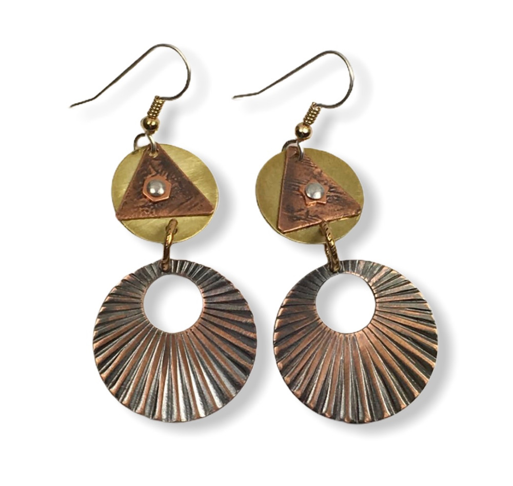 """Rustic Earrings - Brass, etched copper rivets   silver ear wires with gold fill accents and jumpring   1"""" x 1.5"""""""