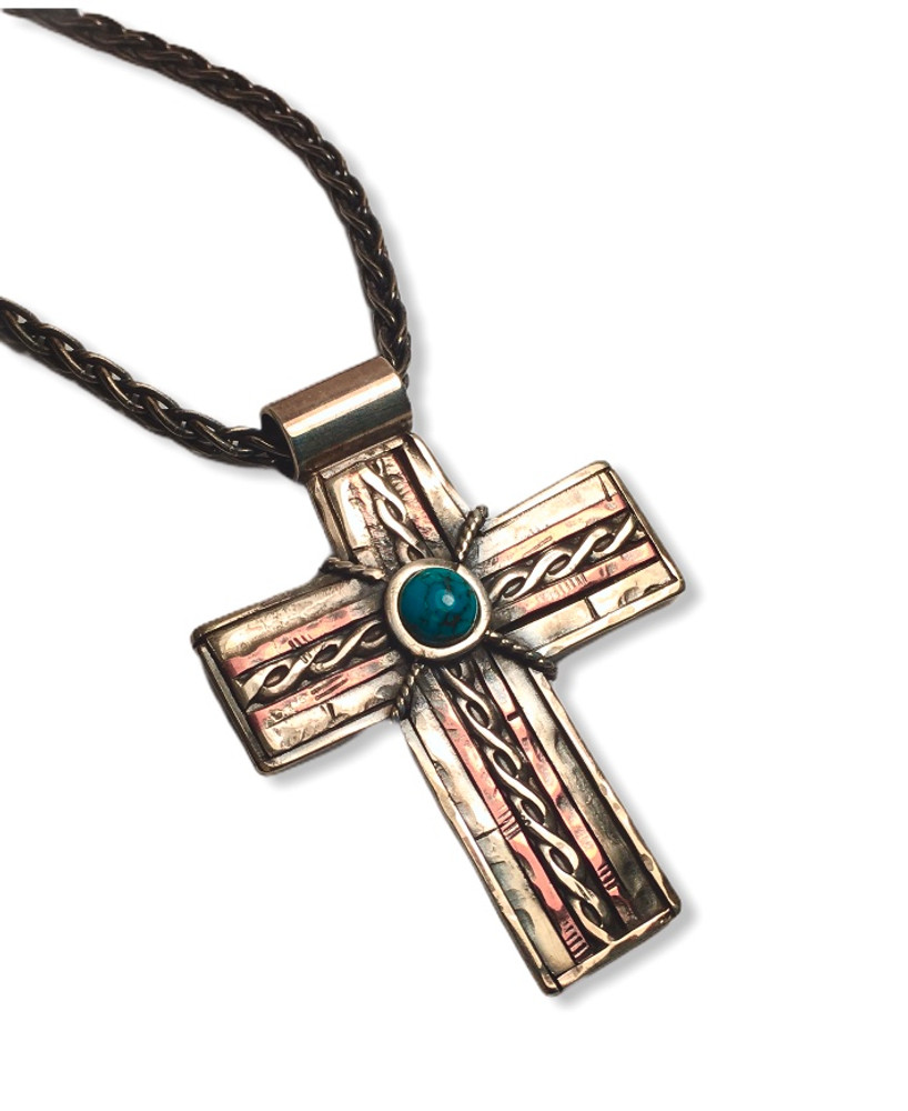 """Rustic Cross - sterling silver, copper with a turquoise cab  1.5"""" x 1.75""""   18"""" oxidized sterling silver wheat chain 3mm"""