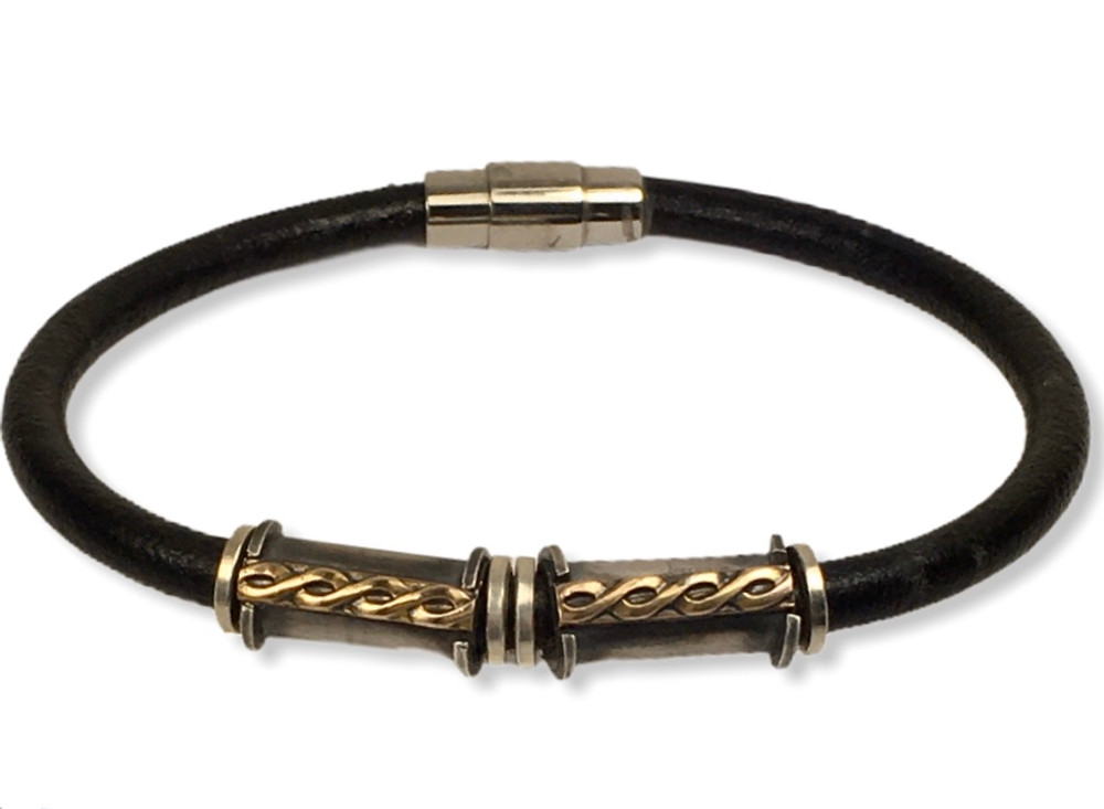 Black Leather Bracelet with gold fill braided accent  5mm round leather   stainless steel magnetic clasp   size 8
