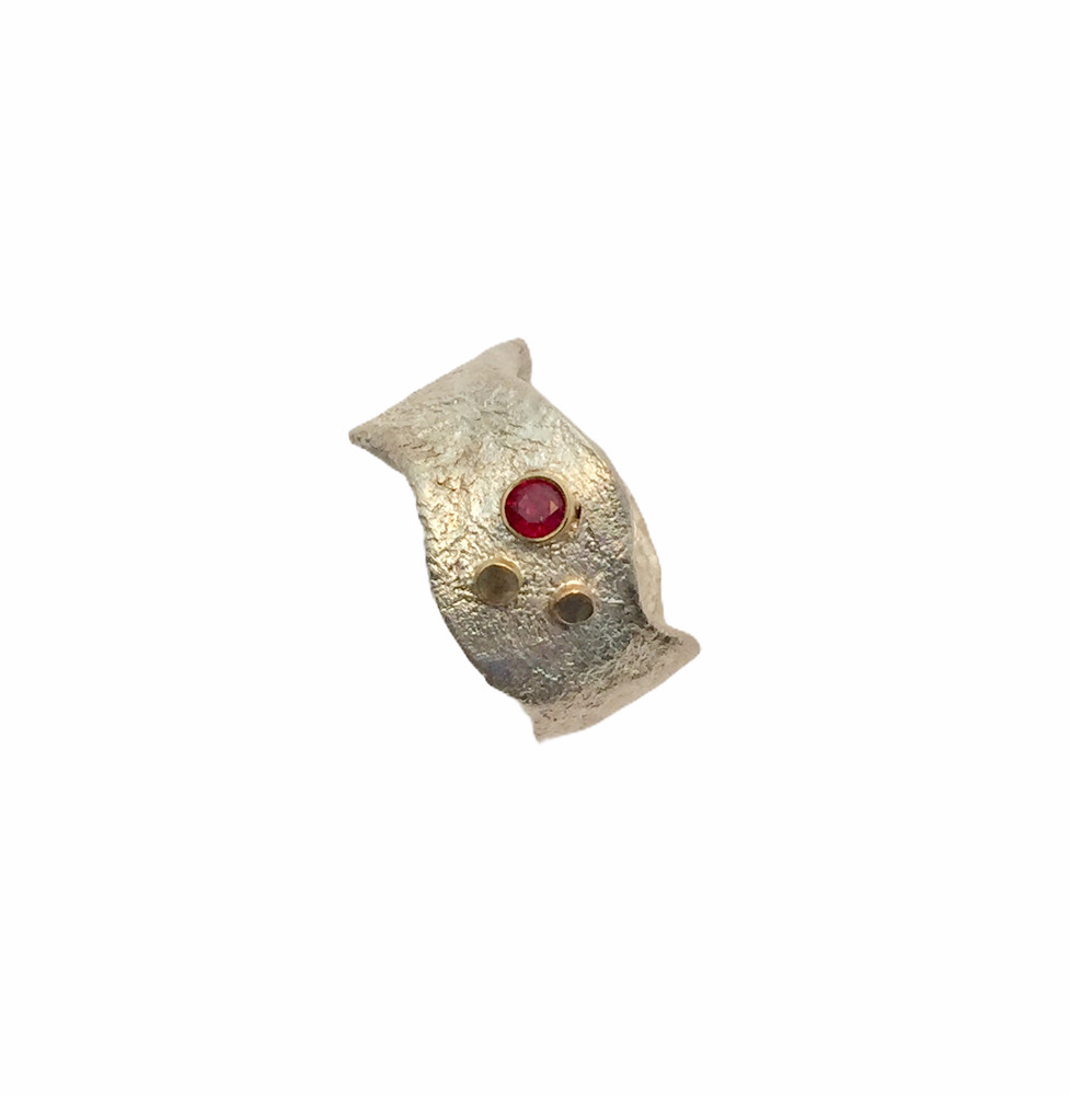 SS reticulated  ring with  gold balls and ruby set in 14k gold