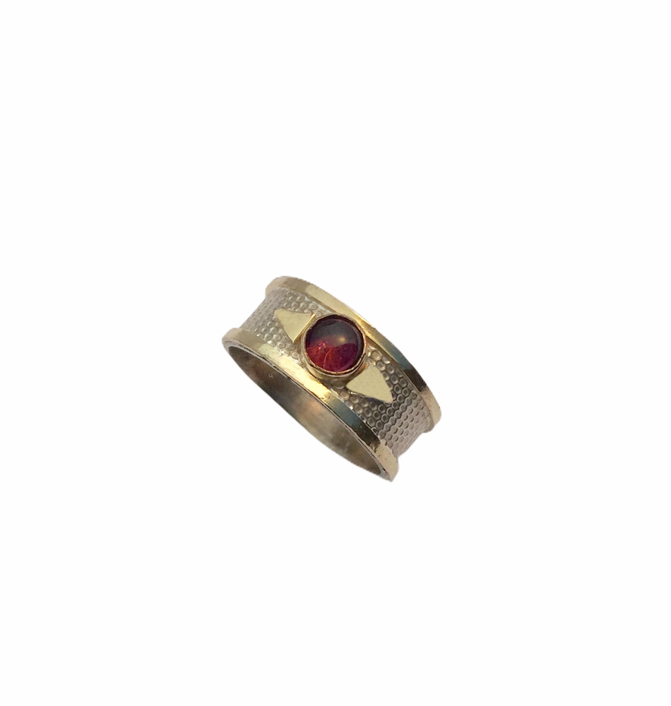 Sterling silver, 14k gold and tourmaline ring