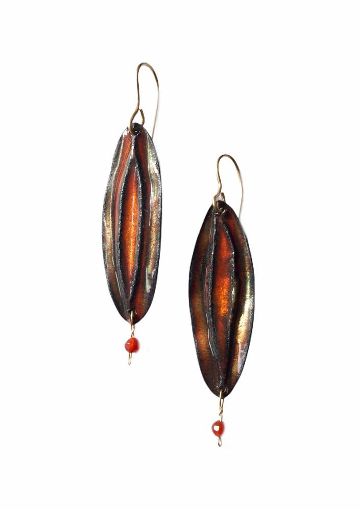 Fold formed  rust and gold enamel earrings with carnelian drops