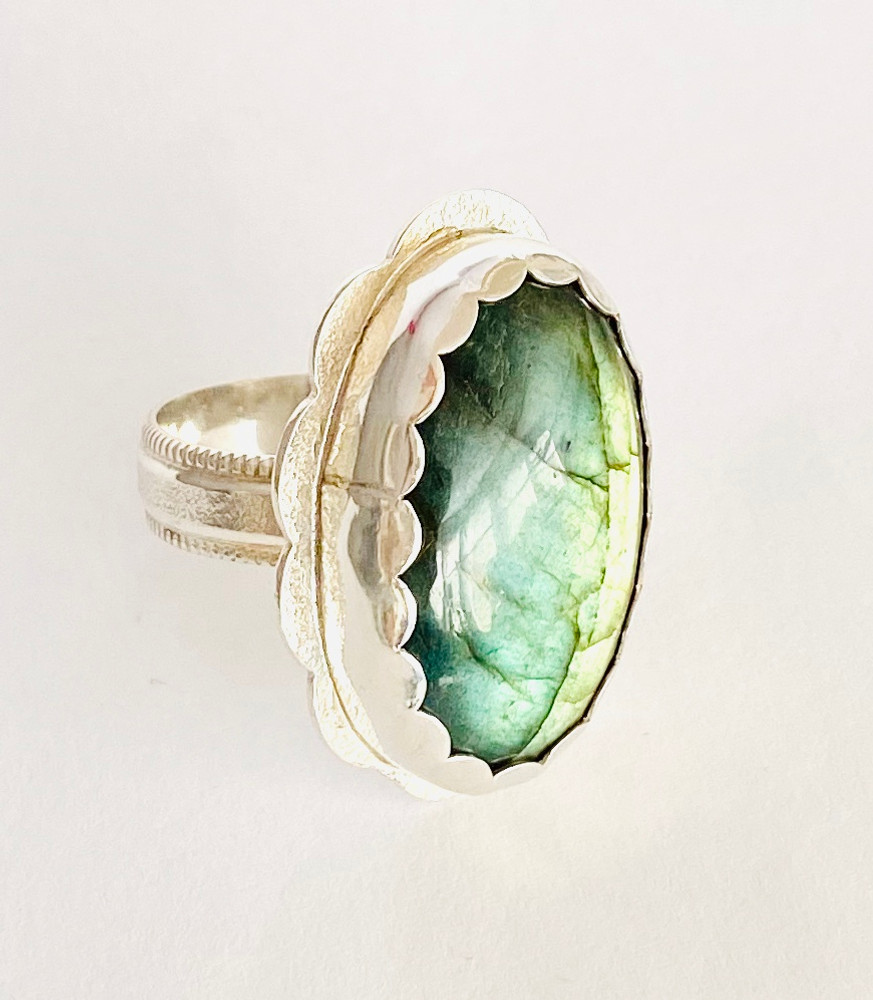 Sterling silver ring with oval green Labradorite