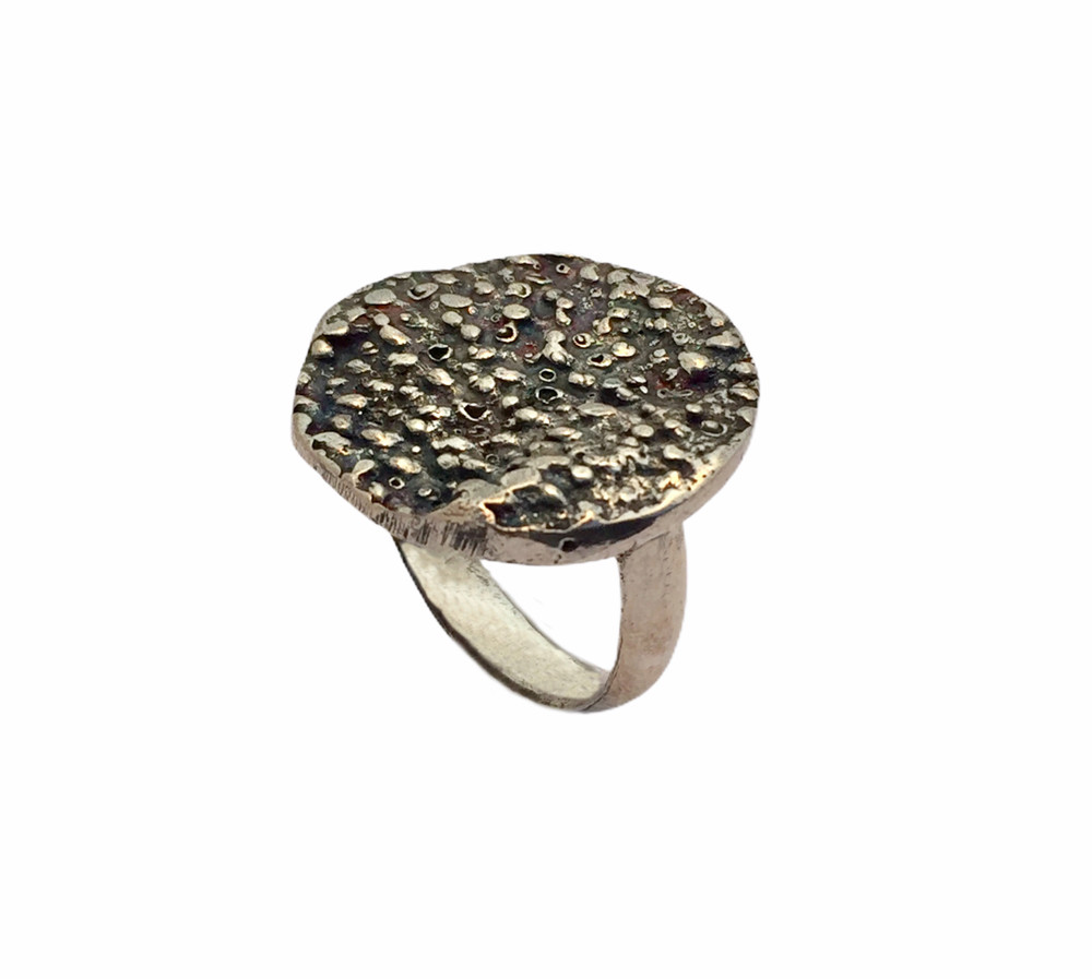Sterling silver textured disc ring