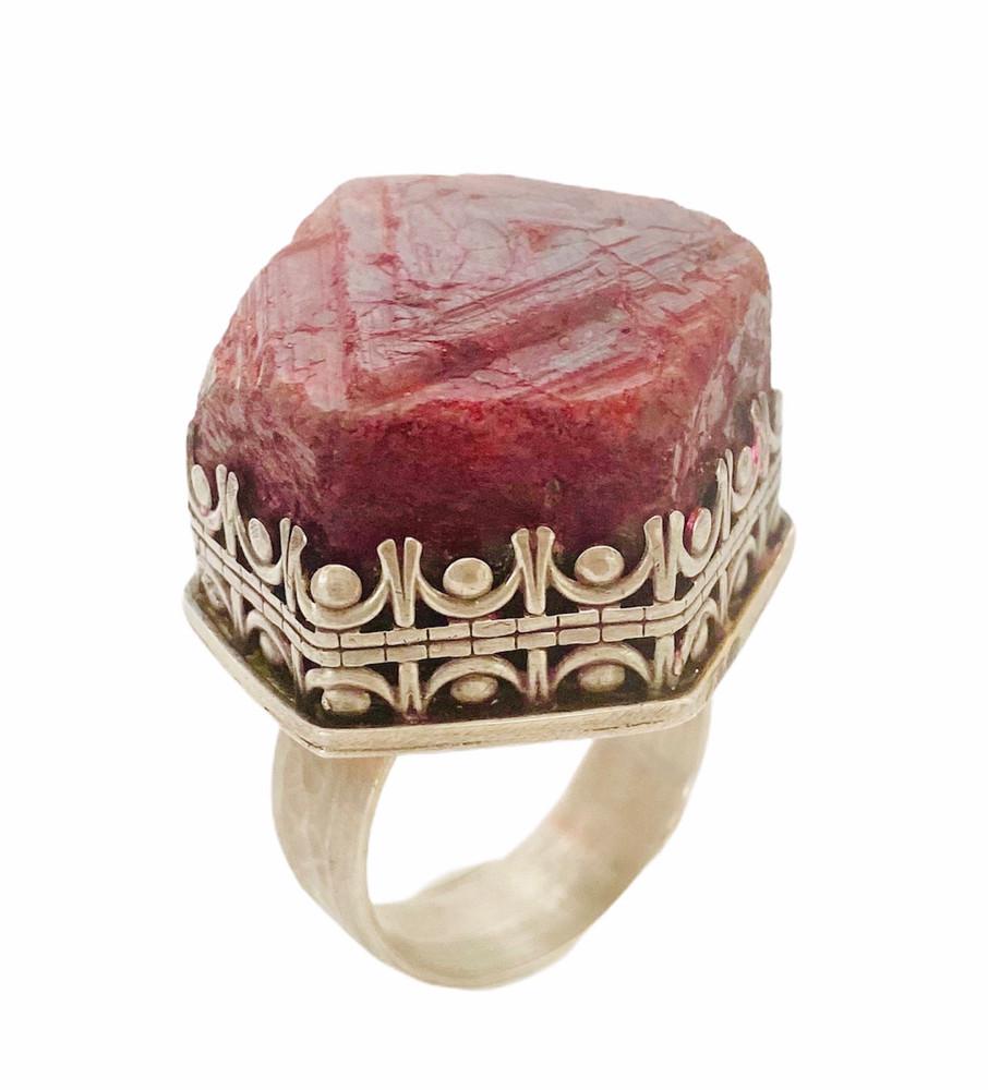 Large raw hexgonal crystal Ruby ring - size 12 1/4