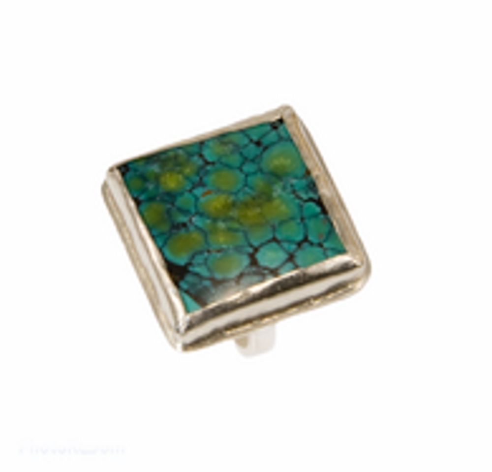 Sterling silver and square turquoise ring