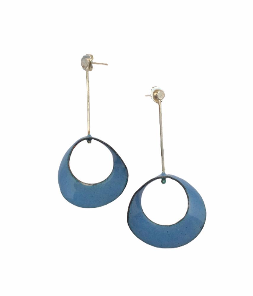 Sterling silver blue enamel mobius earrings