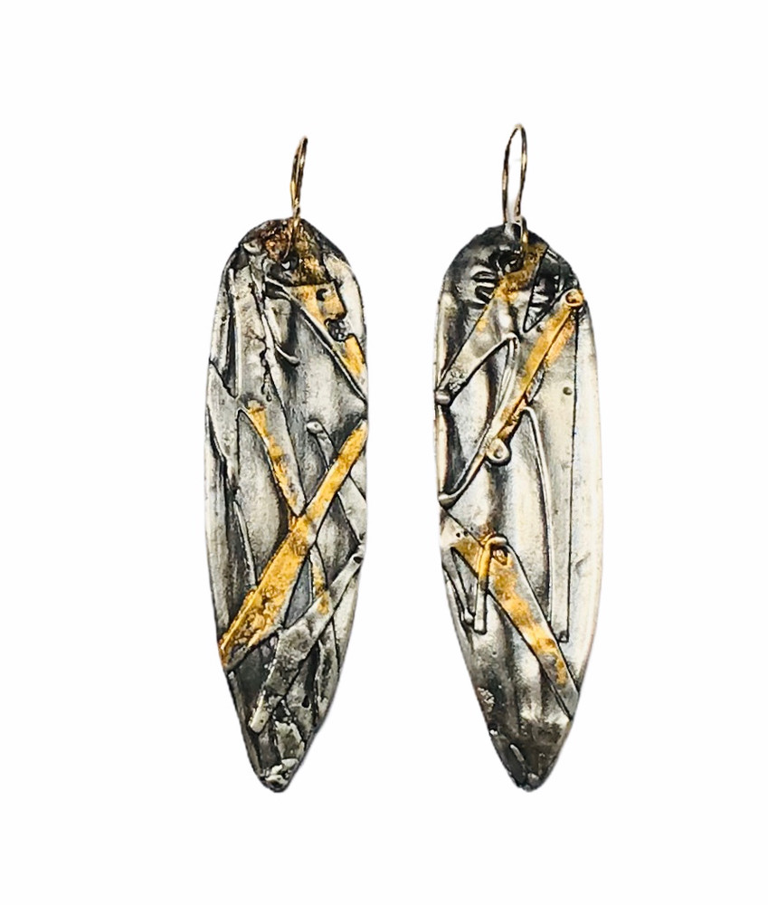 Sterling Silver  and 24K Gold Keum Boo Oval Earrings