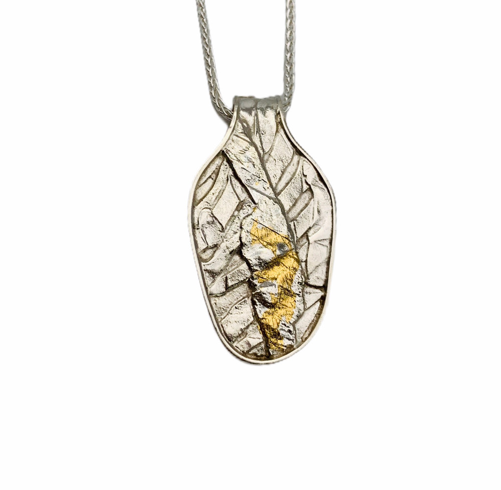 Sterling Silver and 24K Gold Keum Boo Fused Pendant