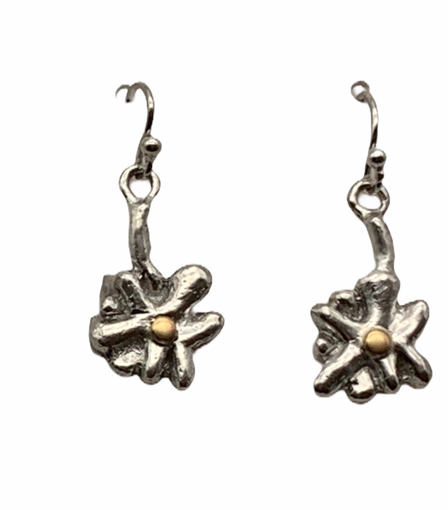 Sterling Silver and 22K Gold Flower Earrings