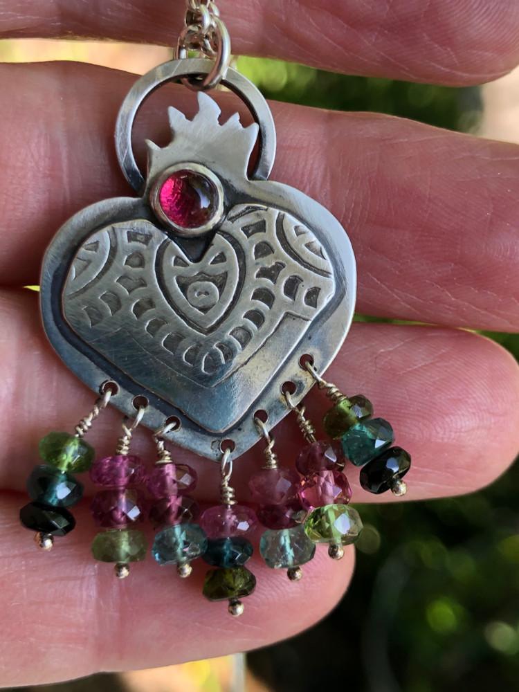 Sacred Heart Mandala with Tourmaline