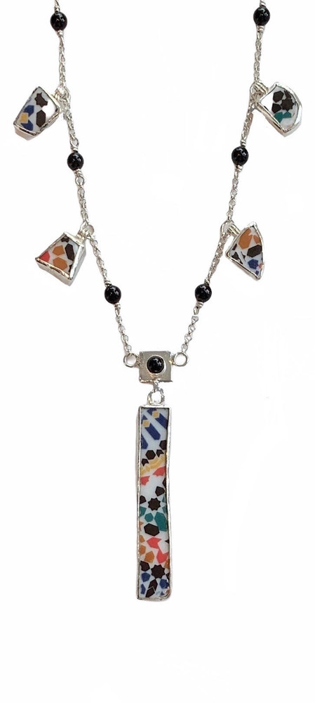 """16""""-17"""" fine silver chain.Sterling & fine silver necklace w/ ceramic and onyx. Designed and handmade by J. A. Lindberg"""