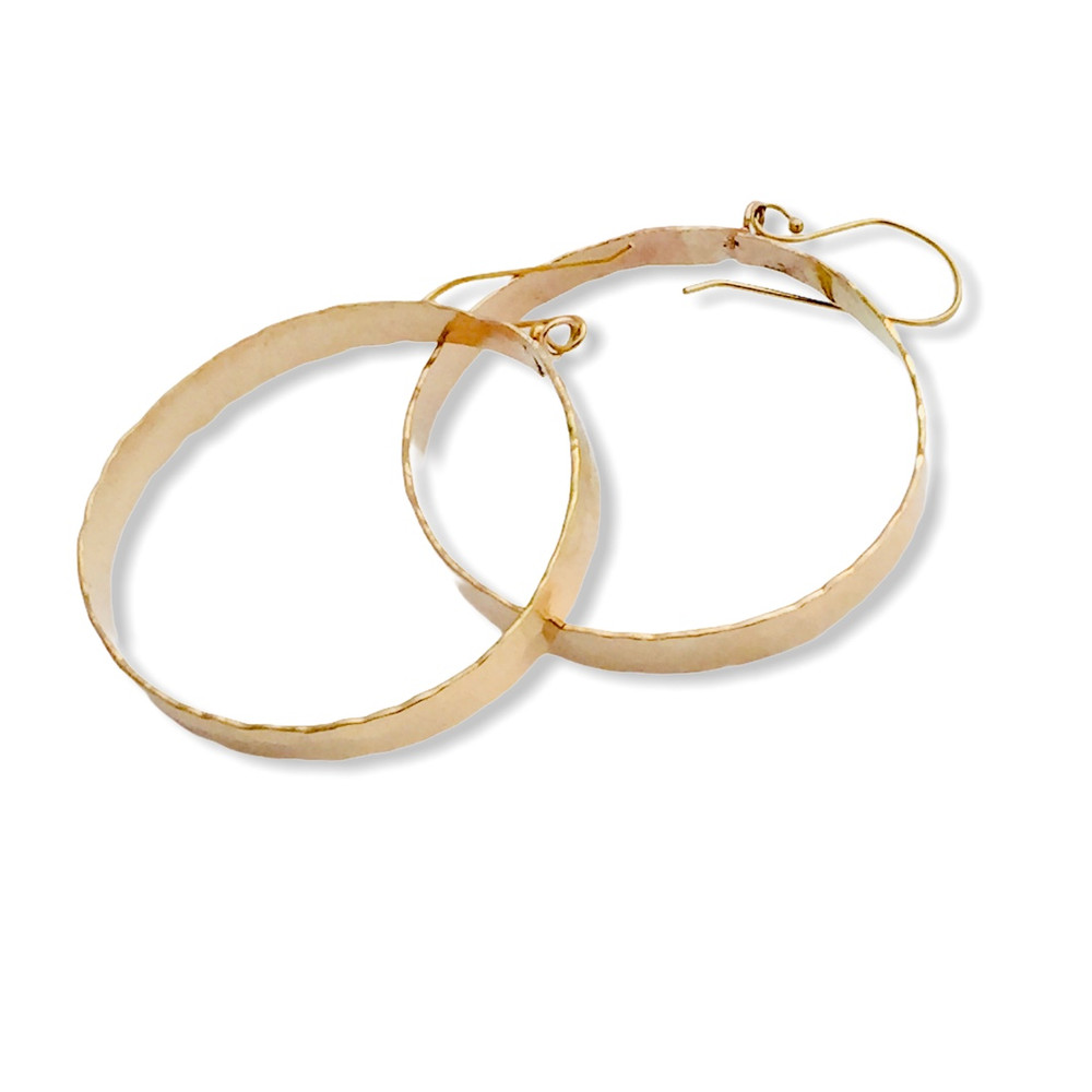 Hand  forged 14K gold filled hoop earrings