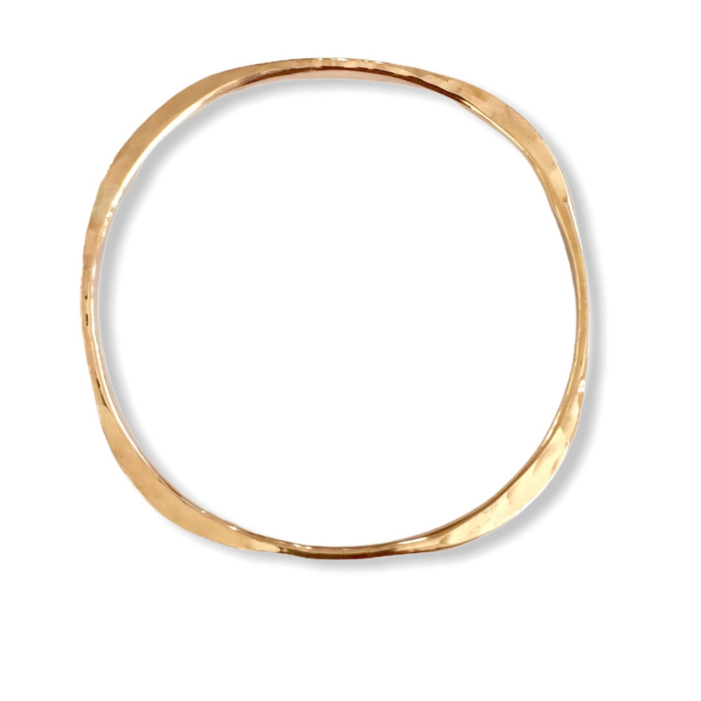 Hand forged 14K gold filled square bangle