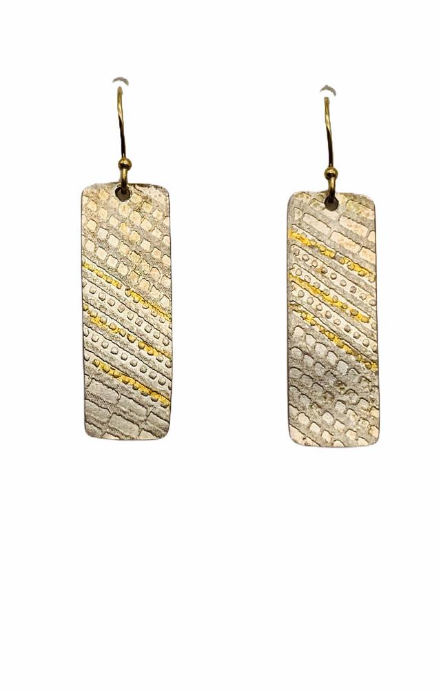 24K Gold Keum Boo and  Sterling Silver Earrings  GF Earwires