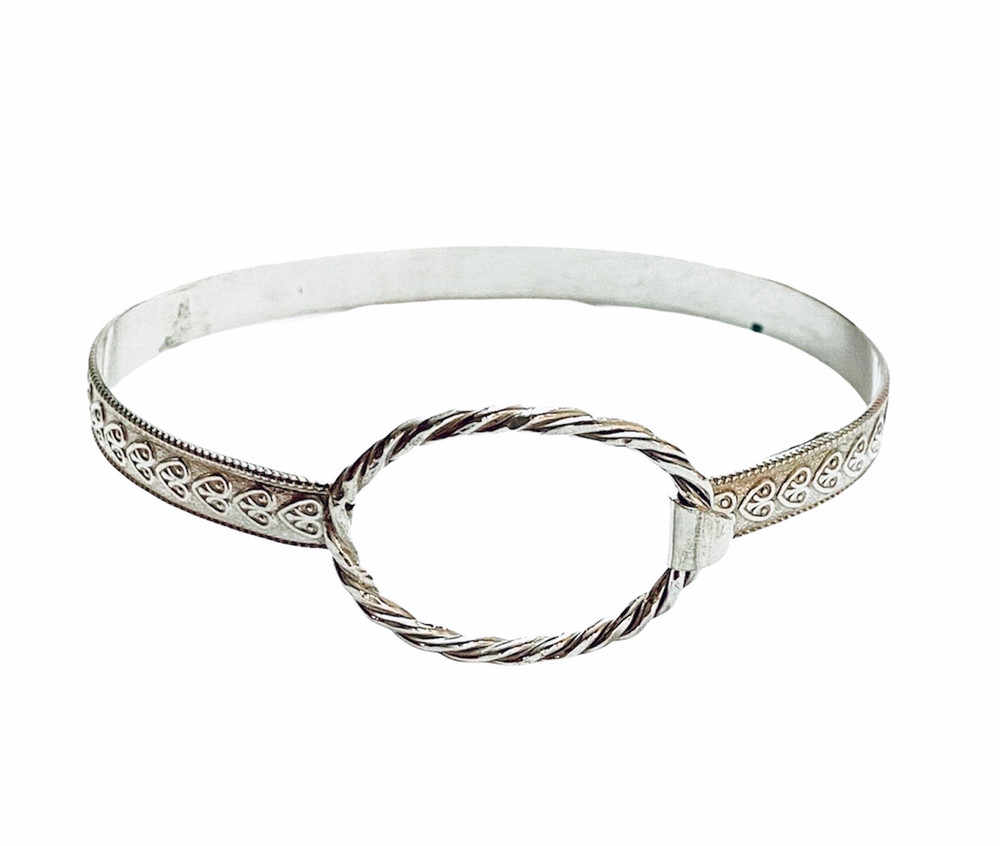 Sterling silver 'Hearts' fitted bracelet with braided closure