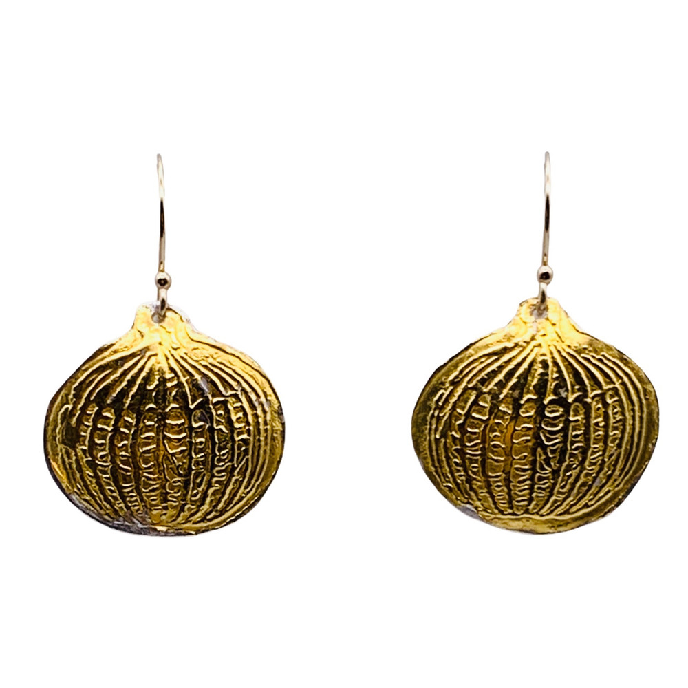 Sterling Silver and 24K Gold Keum Boo Etched 'Pumpkin' Earrings  With 14K GF Ear Wires