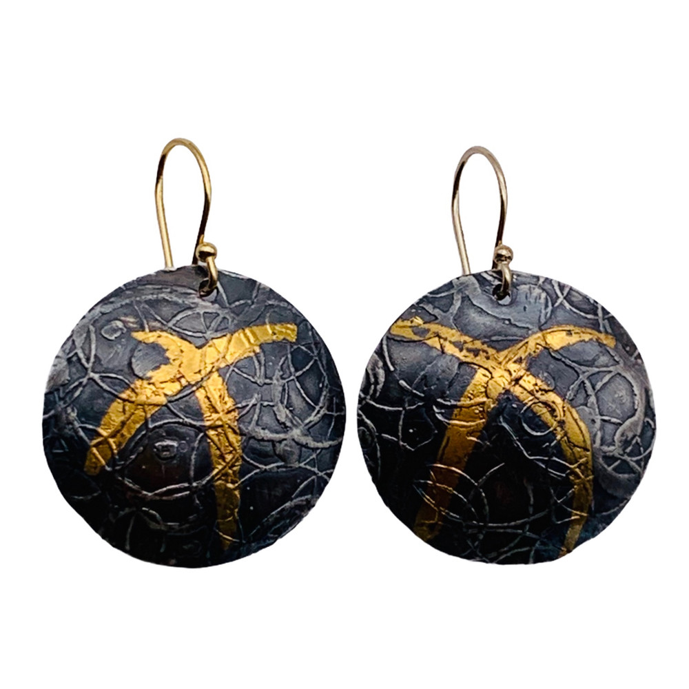 Sterling Silver and 24K Gold Keum Boo Etched and Oxidized Circle Earrings  With 14K GF Ear Wires