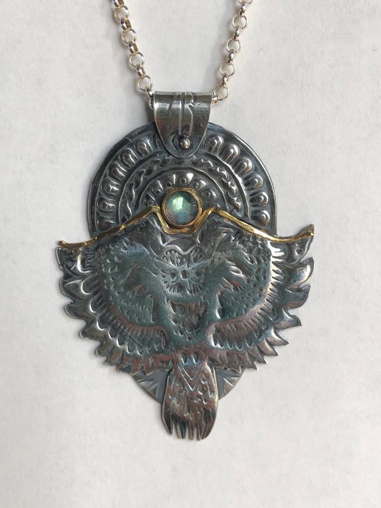 Owl and Setting Sun pendant