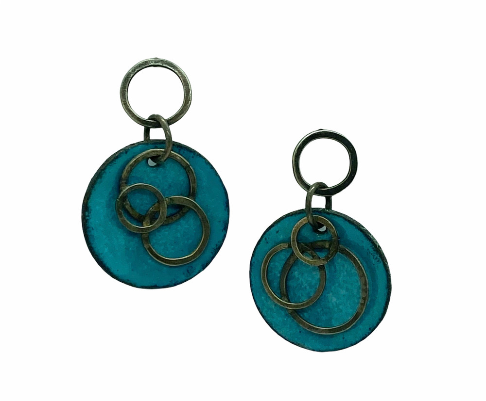 Blue Enamel Earrings