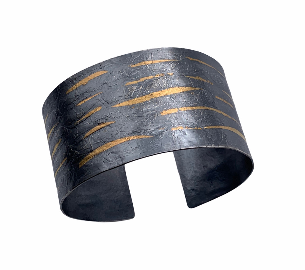 Sterling Silver and 24K Keum Boo Oxidized Wave Cuff