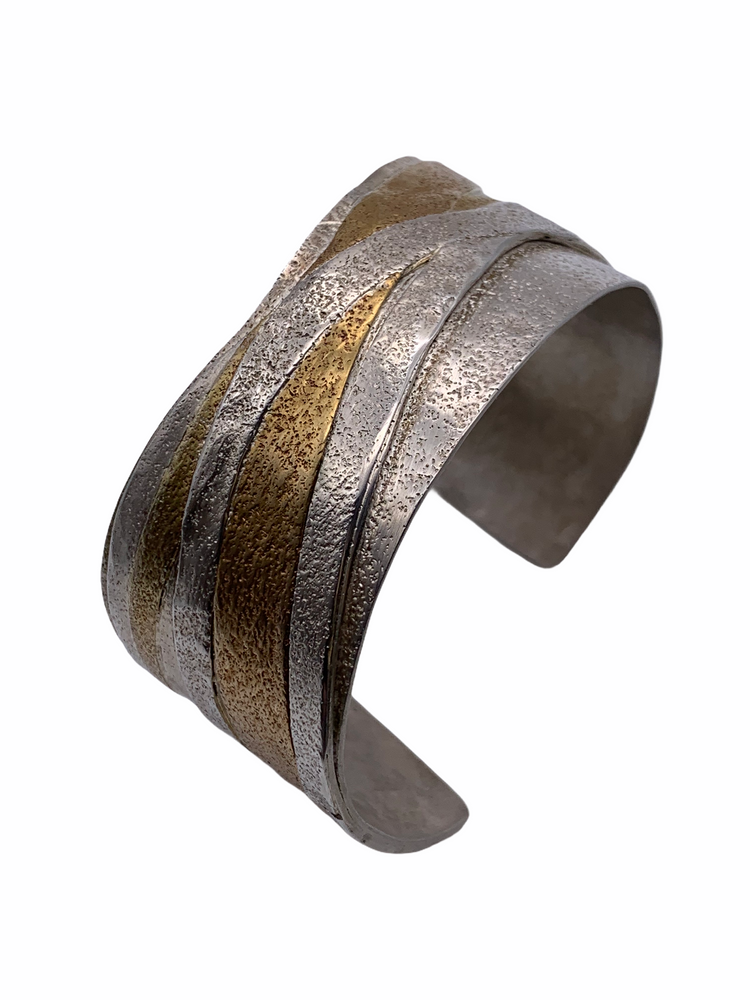 Sterling Silver and Fused Bronze Cuff