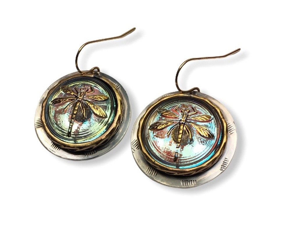 CLEAR IRIDESCENT GLASS DRAGONFLY EARRINGS.SET IN STERLING SILVER  AND GOLD FILL BEZEL WITH GOLD FILL EAR WIRES