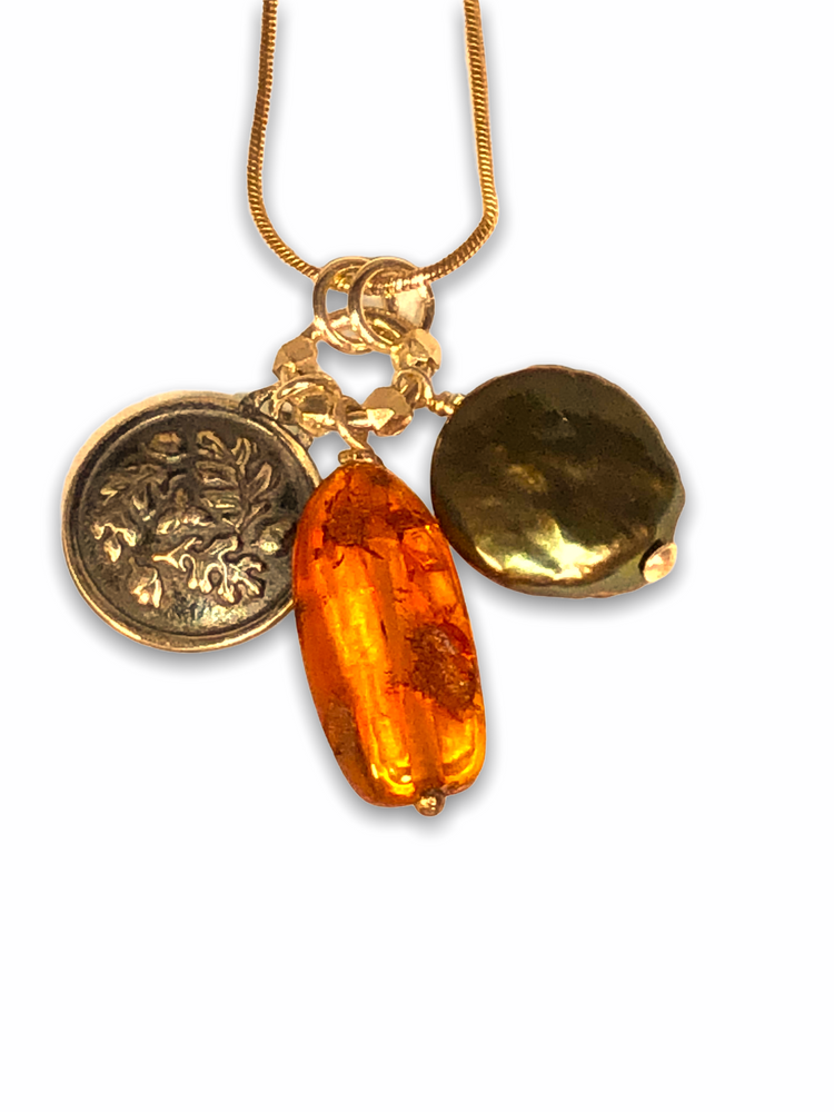 16mm Acorn Charm with Amber and green Pearl