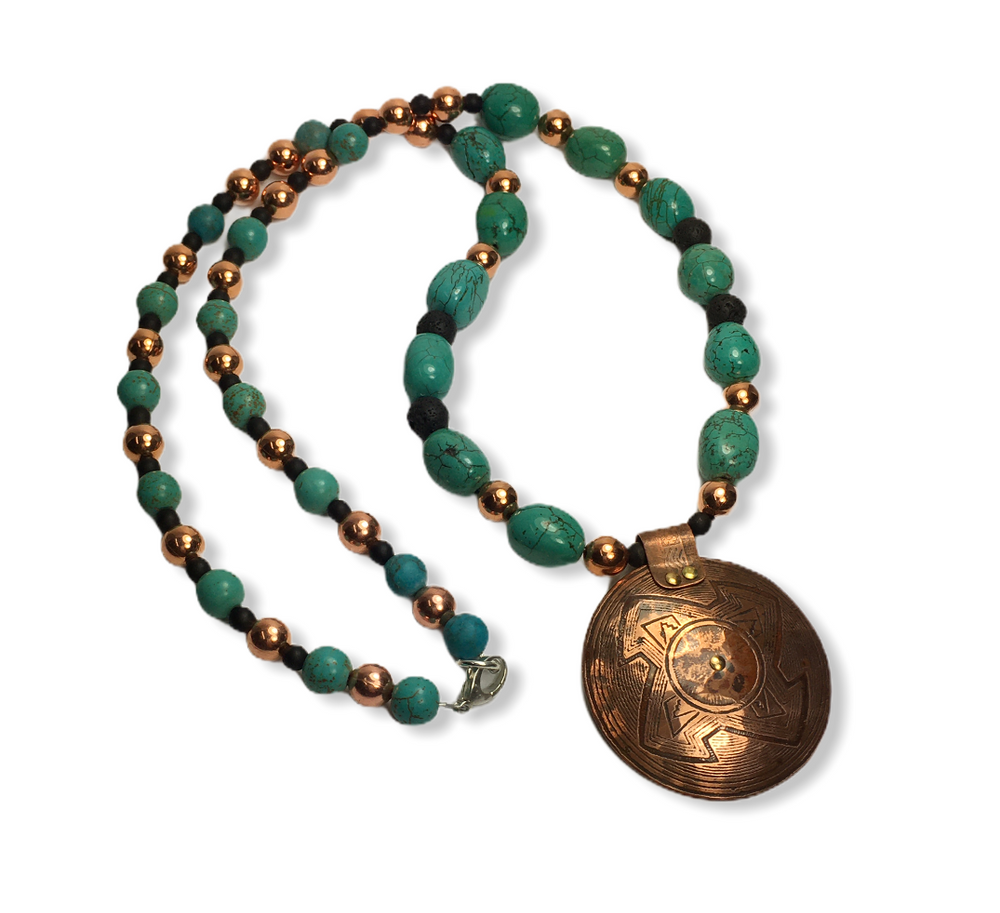 ETCHED COPPER DISC WITH RIVETS PENDANT  - TURQUOISE, COPPER,LAVA ROCK BEADS WITH SILVER CLASP